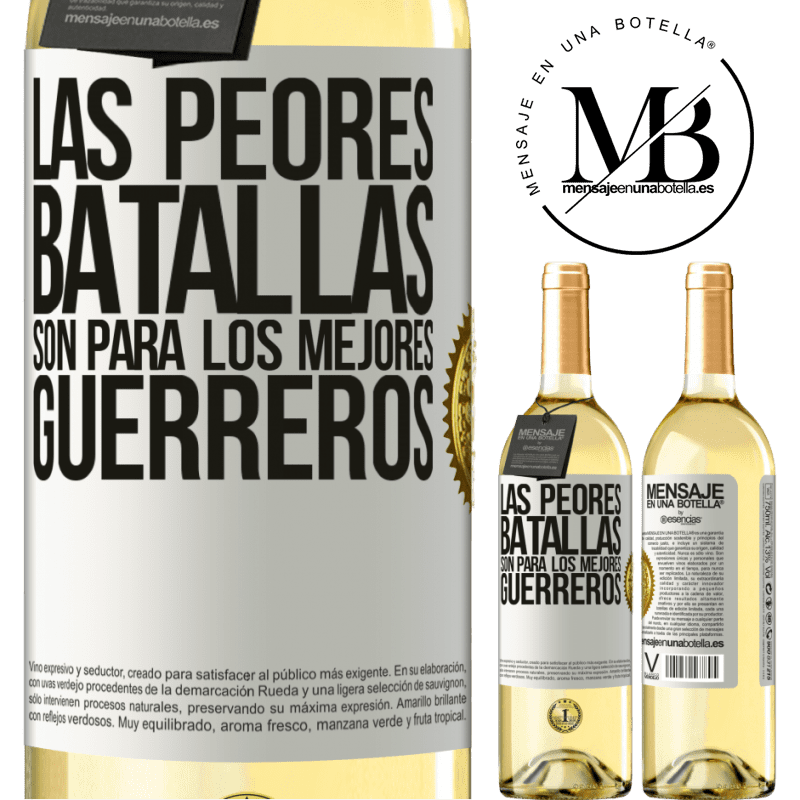 24,95 € Envoi gratuit   Vin blanc Édition WHITE Les pires batailles sont pour les meilleurs guerriers Étiquette Blanche. Étiquette personnalisable Vin jeune Récolte 2020 Verdejo
