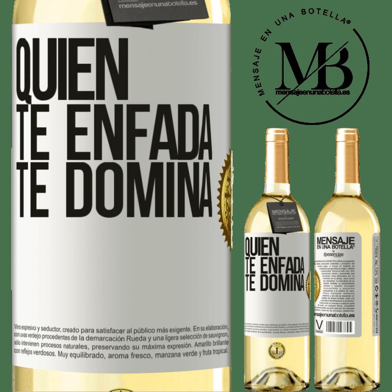24,95 € Envoi gratuit | Vin blanc Édition WHITE Qui te met en colère te domine Étiquette Blanche. Étiquette personnalisable Vin jeune Récolte 2020 Verdejo