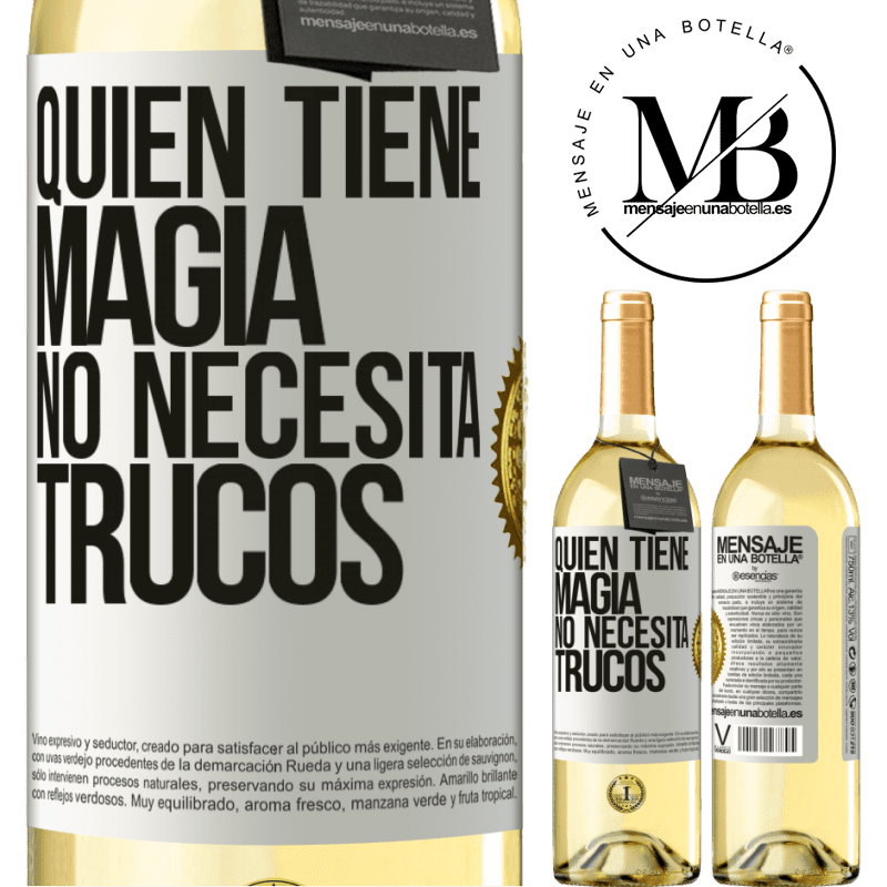 24,95 € Envoi gratuit | Vin blanc Édition WHITE Qui a de la magie n'a pas besoin de tours Étiquette Blanche. Étiquette personnalisable Vin jeune Récolte 2020 Verdejo