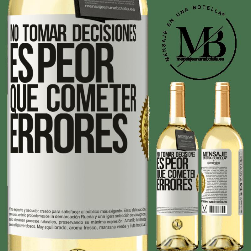 24,95 € Envío gratis | Vino Blanco Edición WHITE No tomar decisiones es peor que cometer errores Etiqueta Blanca. Etiqueta personalizable Vino joven Cosecha 2020 Verdejo