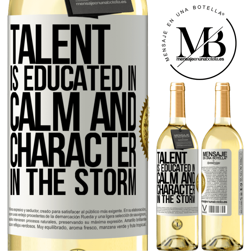 24,95 € Free Shipping   White Wine WHITE Edition Talent is educated in calm and character in the storm White Label. Customizable label Young wine Harvest 2020 Verdejo