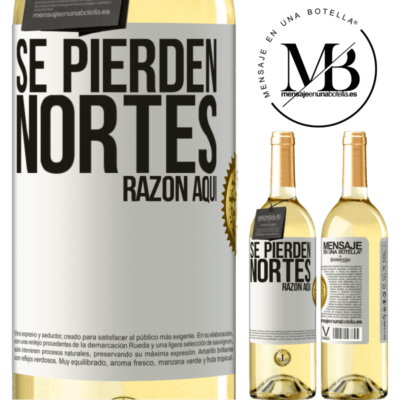 24,95 € Envoi gratuit   Vin blanc Édition WHITE Les Nortes sont perdus. Raison ici Étiquette Blanche. Étiquette personnalisable Vin jeune Récolte 2020 Verdejo
