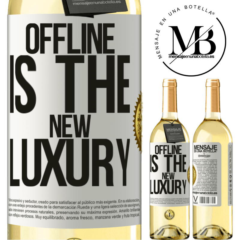 24,95 € Envío gratis | Vino Blanco Edición WHITE Offline is the new luxury Etiqueta Blanca. Etiqueta personalizable Vino joven Cosecha 2020 Verdejo