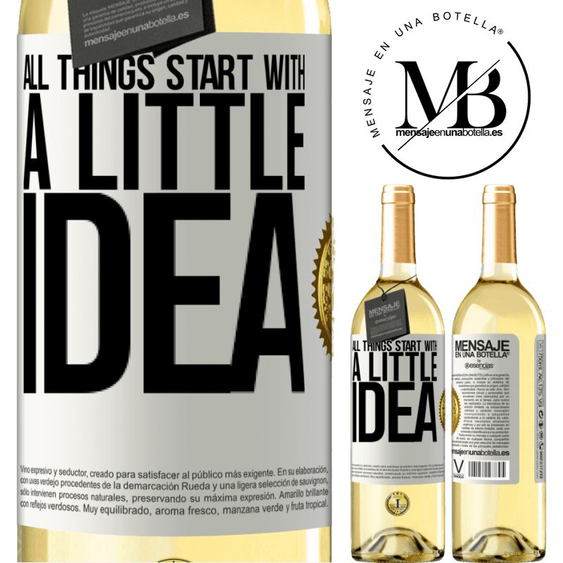 24,95 € Free Shipping   White Wine WHITE Edition It all starts with a little idea White Label. Customizable label Young wine Harvest 2020 Verdejo
