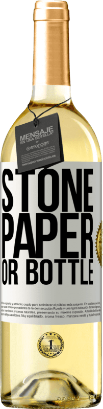 24,95 € Free Shipping | White Wine WHITE Edition Stone, paper or bottle White Label. Customizable label Young wine Harvest 2020 Verdejo