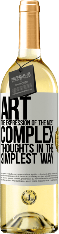 24,95 € Free Shipping | White Wine WHITE Edition ART. The expression of the most complex thoughts in the simplest way White Label. Customizable label Young wine Harvest 2020 Verdejo