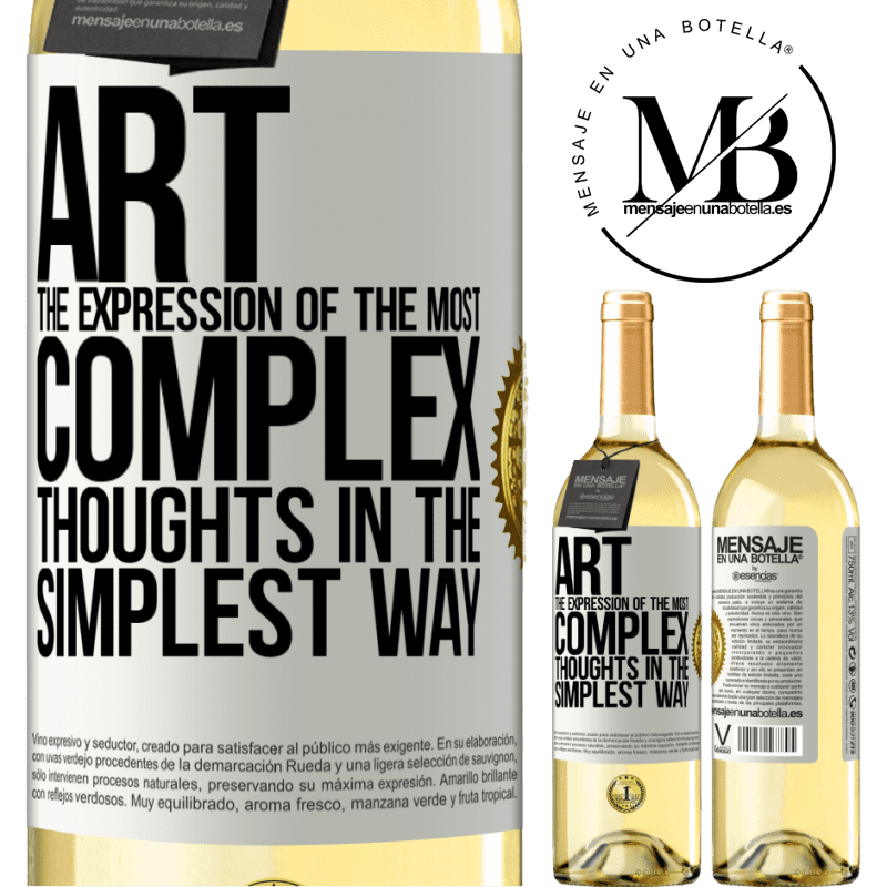 24,95 € Free Shipping   White Wine WHITE Edition ART. The expression of the most complex thoughts in the simplest way White Label. Customizable label Young wine Harvest 2020 Verdejo