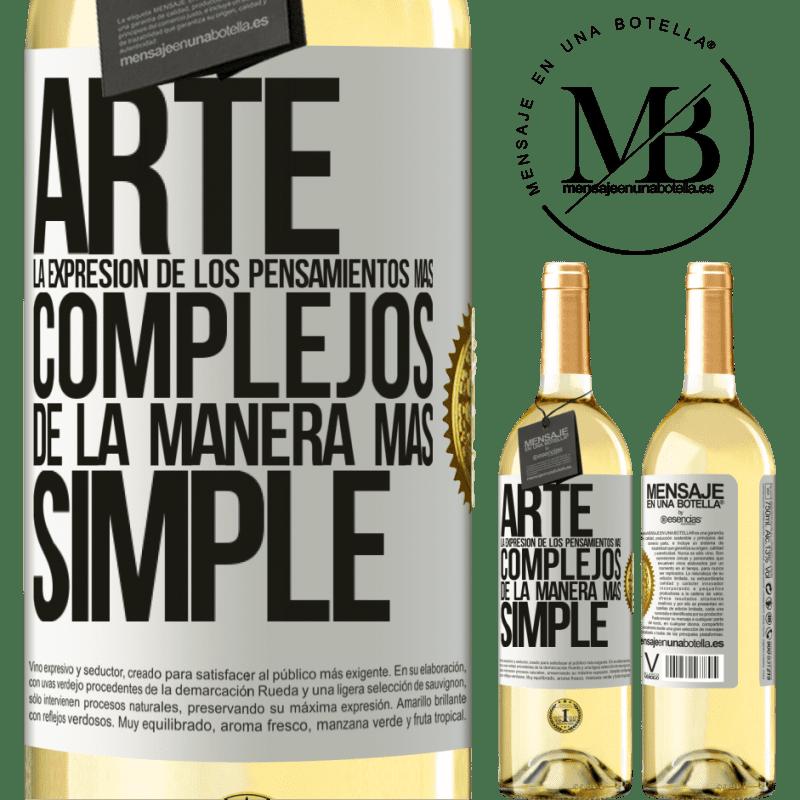 24,95 € Envoi gratuit | Vin blanc Édition WHITE ART L'expression des pensées les plus complexes de la manière la plus simple Étiquette Blanche. Étiquette personnalisable Vin jeune Récolte 2020 Verdejo