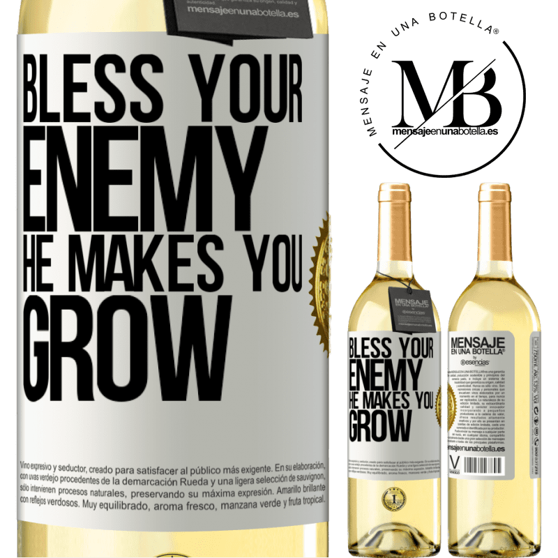 24,95 € Free Shipping | White Wine WHITE Edition Bless your enemy. He makes you grow White Label. Customizable label Young wine Harvest 2020 Verdejo
