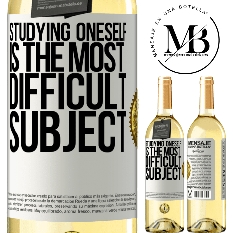 24,95 € Free Shipping | White Wine WHITE Edition Studying oneself is the most difficult subject White Label. Customizable label Young wine Harvest 2020 Verdejo