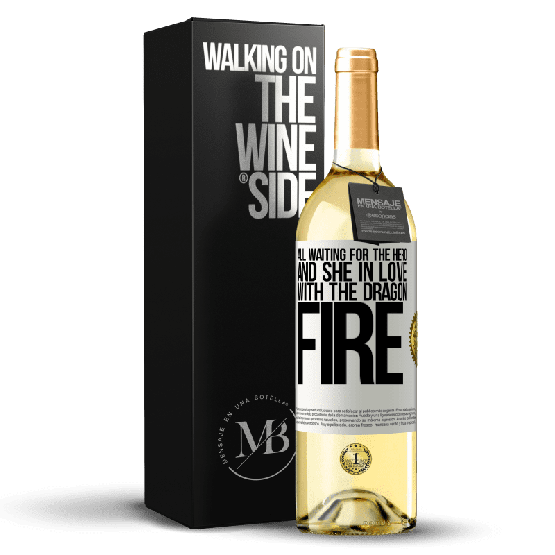 24,95 € Free Shipping | White Wine WHITE Edition All waiting for the hero and she in love with the dragon fire White Label. Customizable label Young wine Harvest 2020 Verdejo