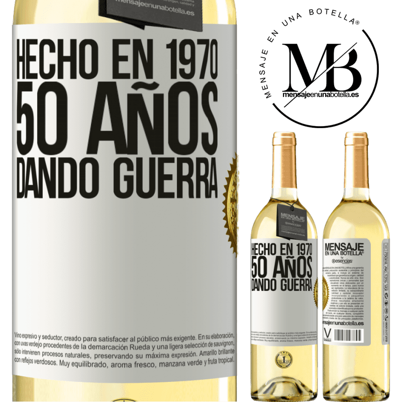 24,95 € Envío gratis   Vino Blanco Edición WHITE Hecho en 1970. 50 años dando guerra Etiqueta Blanca. Etiqueta personalizable Vino joven Cosecha 2020 Verdejo