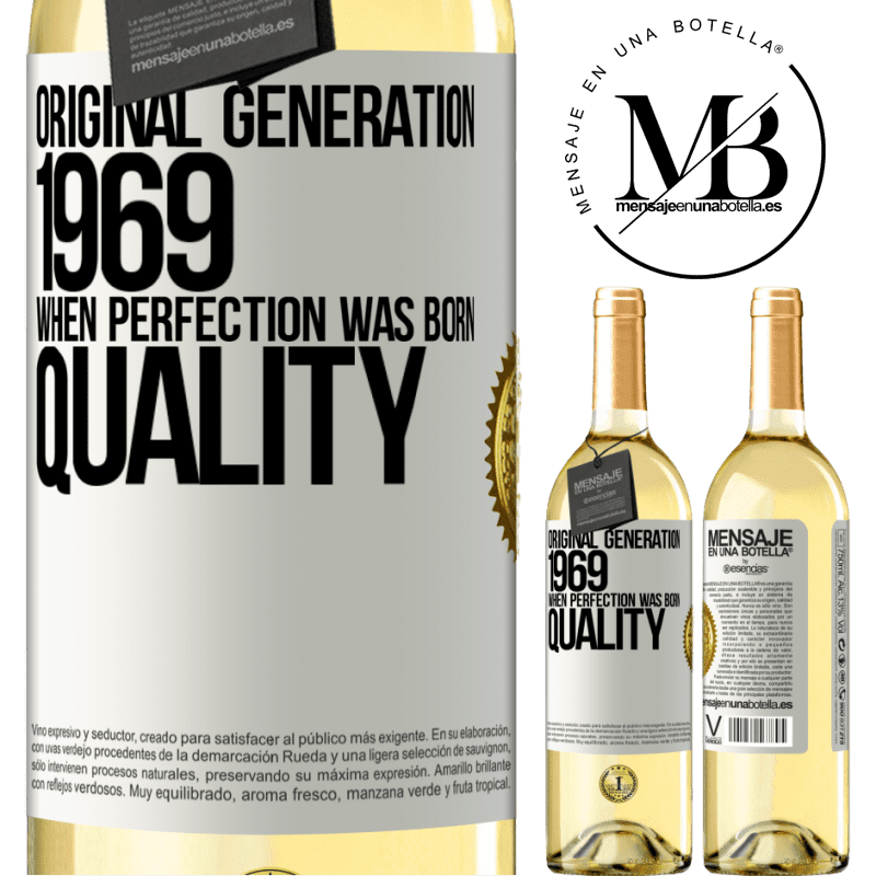 24,95 € Free Shipping | White Wine WHITE Edition Original generation. 1969. When perfection was born. Quality White Label. Customizable label Young wine Harvest 2020 Verdejo