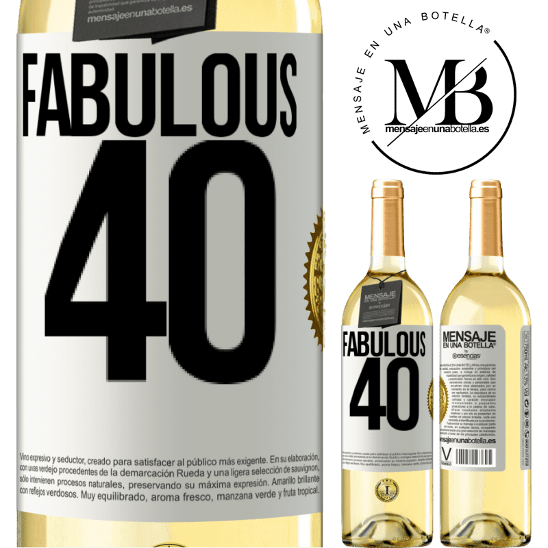 24,95 € Free Shipping   White Wine WHITE Edition Fabulous 40 White Label. Customizable label Young wine Harvest 2020 Verdejo