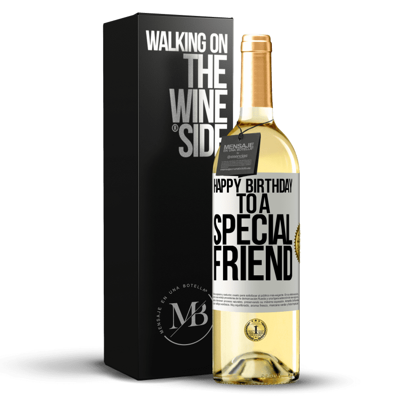 24,95 € Free Shipping   White Wine WHITE Edition Happy birthday to a special friend White Label. Customizable label Young wine Harvest 2020 Verdejo