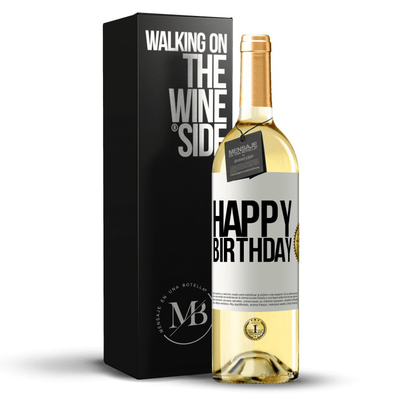24,95 € Free Shipping | White Wine WHITE Edition Happy birthday White Label. Customizable label Young wine Harvest 2020 Verdejo