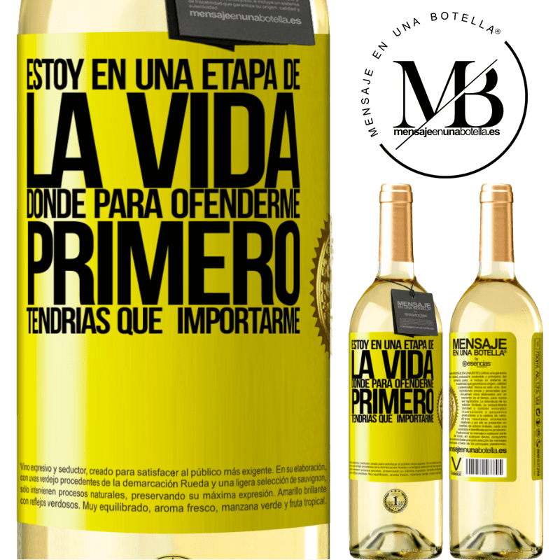24,95 € Envío gratis | Vino Blanco Edición WHITE Estoy en una etapa donde para ofenderme, primero tendrías que importarme Etiqueta Amarilla. Etiqueta personalizable Vino joven Cosecha 2020 Verdejo
