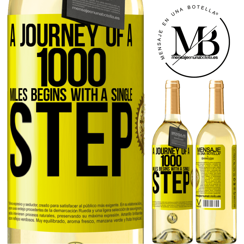 24,95 € Free Shipping   White Wine WHITE Edition A journey of a thousand miles begins with a single step Yellow Label. Customizable label Young wine Harvest 2020 Verdejo