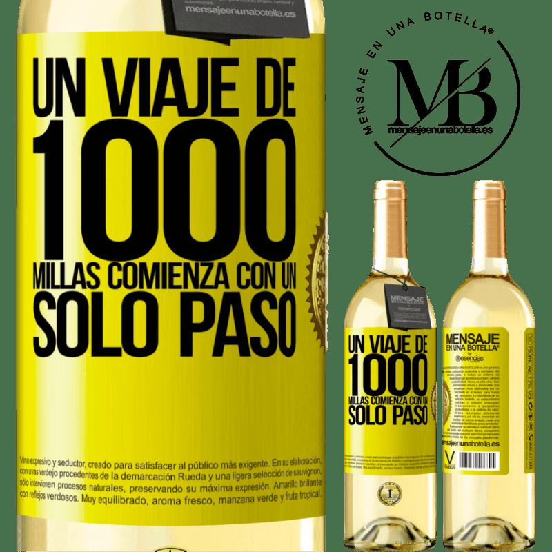 24,95 € Envío gratis | Vino Blanco Edición WHITE Un viaje de mil millas comienza con un solo paso Etiqueta Amarilla. Etiqueta personalizable Vino joven Cosecha 2020 Verdejo