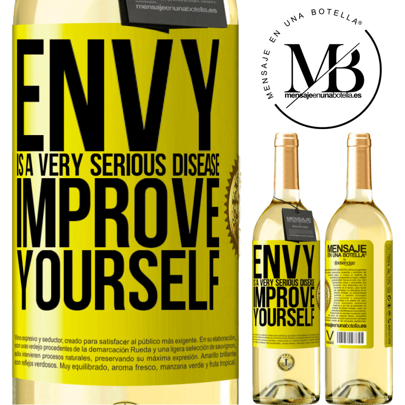 24,95 € Free Shipping | White Wine WHITE Edition Envy is a very serious disease, improve yourself Yellow Label. Customizable label Young wine Harvest 2020 Verdejo