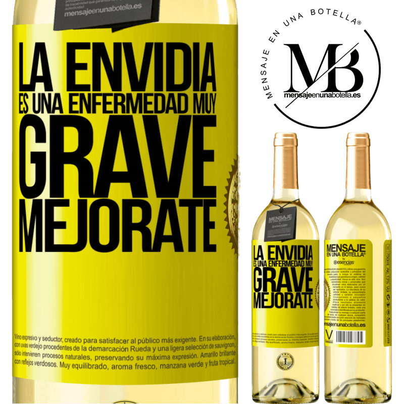24,95 € Envío gratis | Vino Blanco Edición WHITE La envidia es una enfermedad muy grave, mejórate Etiqueta Amarilla. Etiqueta personalizable Vino joven Cosecha 2020 Verdejo