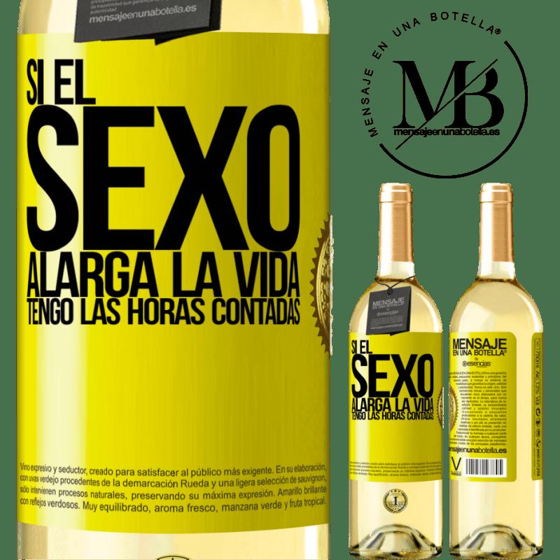 24,95 € Envío gratis | Vino Blanco Edición WHITE Si el sexo alarga la vida ¡Tengo las horas contadas! Etiqueta Amarilla. Etiqueta personalizable Vino joven Cosecha 2020 Verdejo