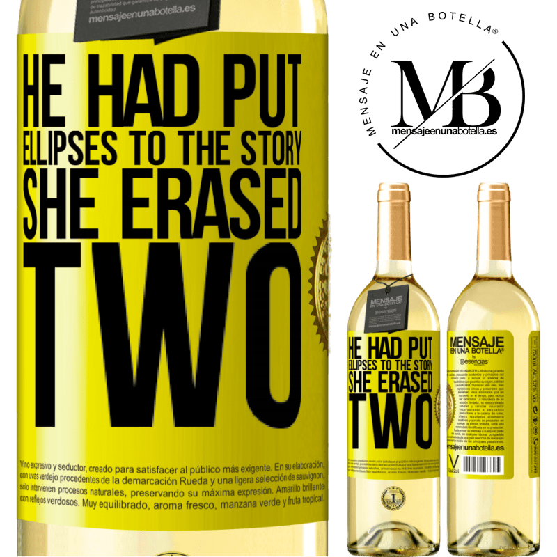 24,95 € Free Shipping | White Wine WHITE Edition he had put ellipses to the story, she erased two Yellow Label. Customizable label Young wine Harvest 2020 Verdejo
