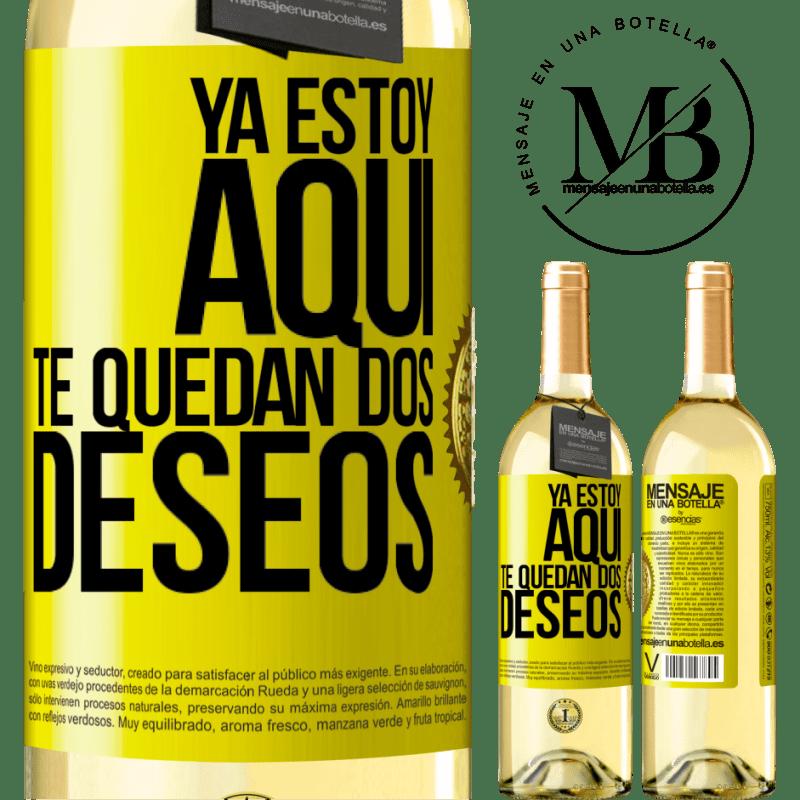 24,95 € Envío gratis | Vino Blanco Edición WHITE Ya estoy aquí. Te quedan dos deseos Etiqueta Amarilla. Etiqueta personalizable Vino joven Cosecha 2020 Verdejo