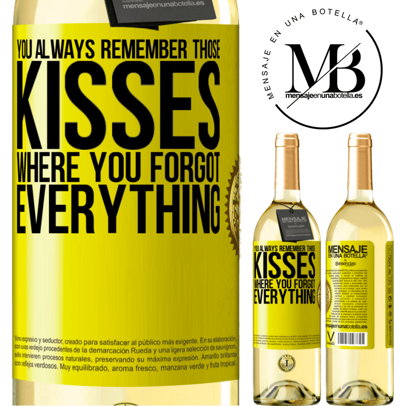 24,95 € Free Shipping | White Wine WHITE Edition You always remember those kisses where you forgot everything Yellow Label. Customizable label Young wine Harvest 2020 Verdejo