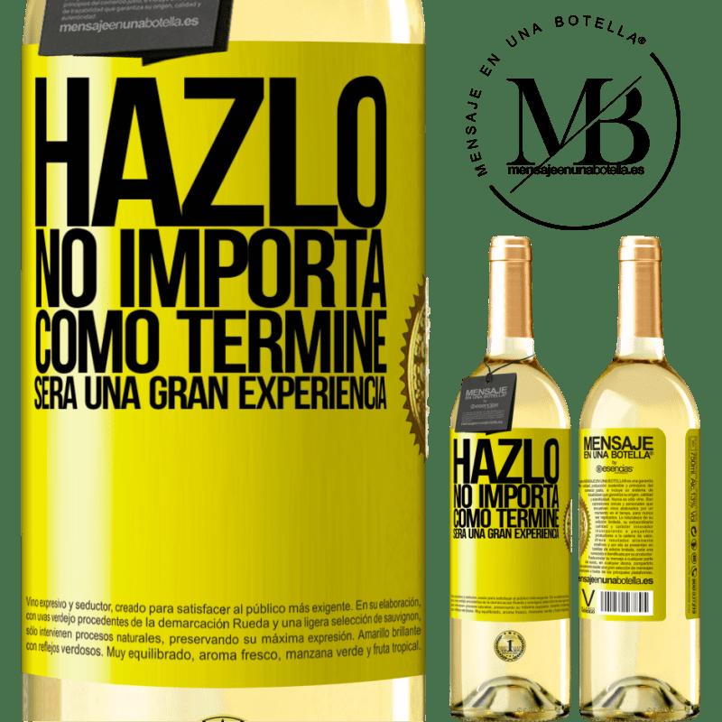 24,95 € Envío gratis | Vino Blanco Edición WHITE Hazlo, no importa como terminé, será una gran experiencia Etiqueta Amarilla. Etiqueta personalizable Vino joven Cosecha 2020 Verdejo
