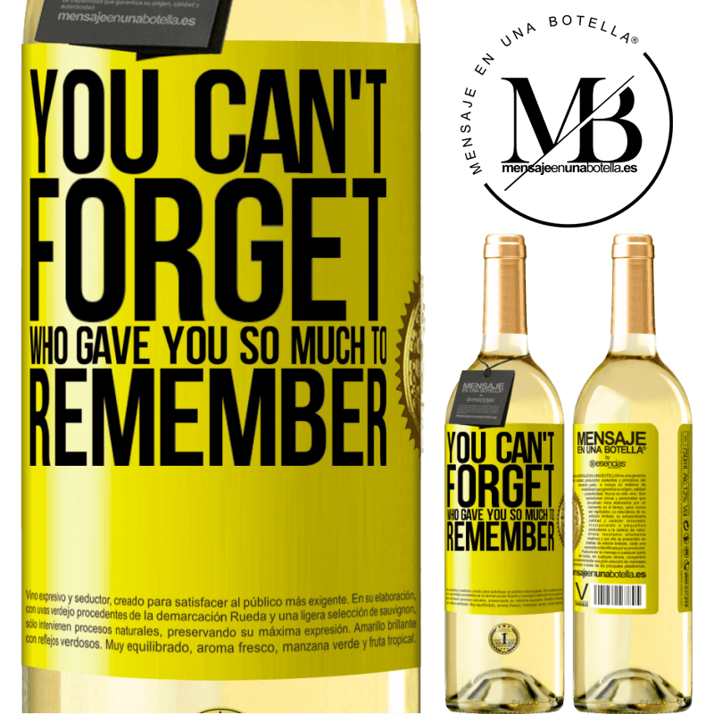 24,95 € Free Shipping | White Wine WHITE Edition You can't forget who gave you so much to remember Yellow Label. Customizable label Young wine Harvest 2020 Verdejo