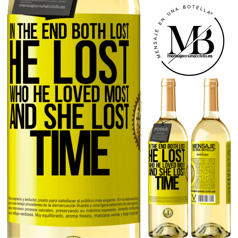 24,95 € Free Shipping | White Wine WHITE Edition In the end, both lost. He lost who he loved most, and she lost time Yellow Label. Customizable label Young wine Harvest 2020 Verdejo