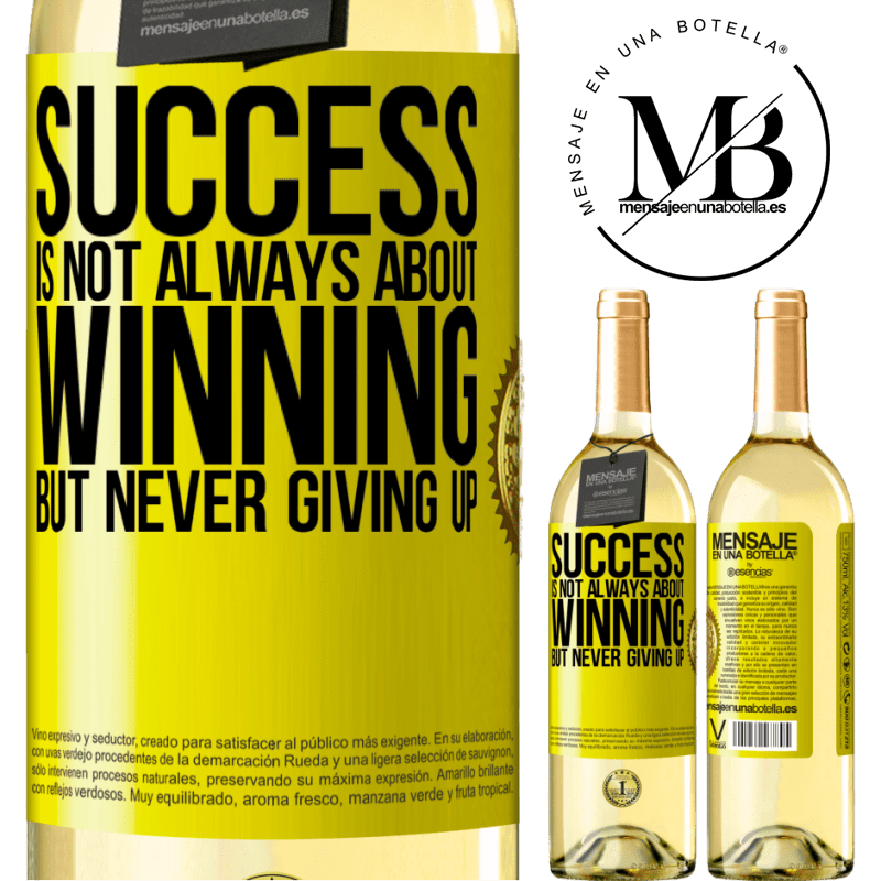 24,95 € Free Shipping | White Wine WHITE Edition Success is not always about winning, but never giving up Yellow Label. Customizable label Young wine Harvest 2020 Verdejo