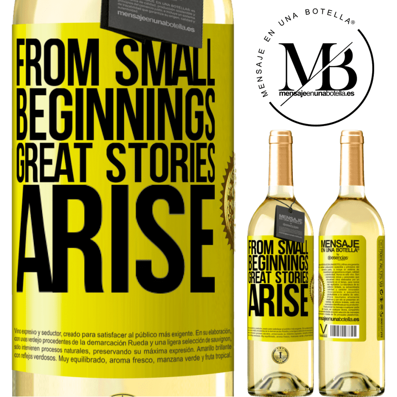24,95 € Free Shipping | White Wine WHITE Edition From small beginnings great stories arise Yellow Label. Customizable label Young wine Harvest 2020 Verdejo