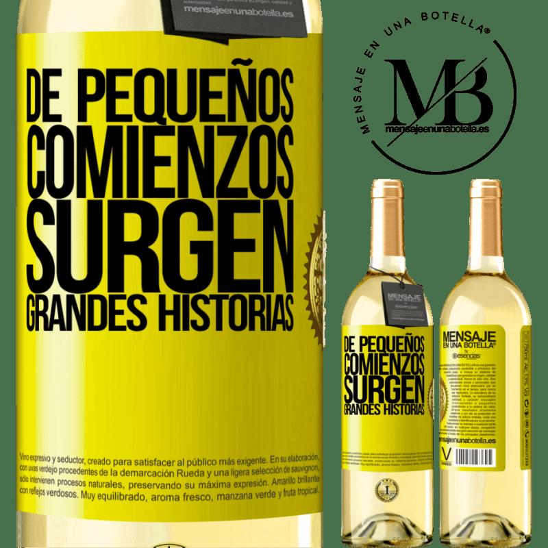 24,95 € Envío gratis | Vino Blanco Edición WHITE De pequeños comienzos surgen grandes historias Etiqueta Amarilla. Etiqueta personalizable Vino joven Cosecha 2020 Verdejo