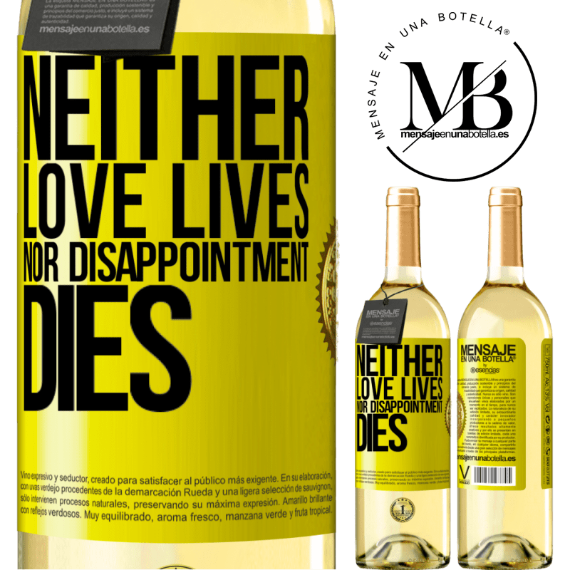 24,95 € Free Shipping | White Wine WHITE Edition Neither love lives, nor disappointment dies Yellow Label. Customizable label Young wine Harvest 2020 Verdejo
