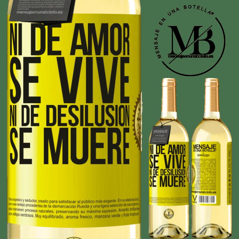 24,95 € Envío gratis   Vino Blanco Edición WHITE Ni de amor se vive, ni de desilusión se muere Etiqueta Amarilla. Etiqueta personalizable Vino joven Cosecha 2020 Verdejo
