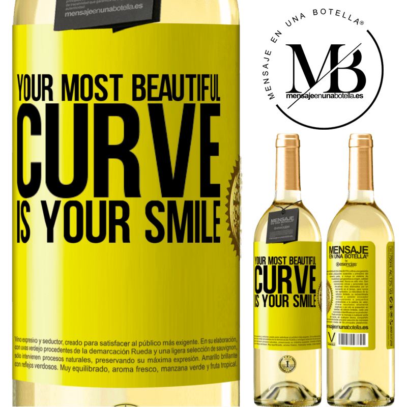 24,95 € Free Shipping | White Wine WHITE Edition Your most beautiful curve is your smile Yellow Label. Customizable label Young wine Harvest 2020 Verdejo