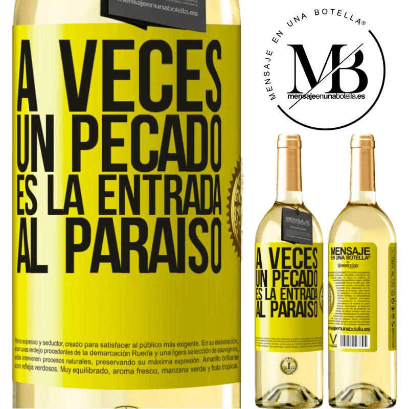24,95 € Envío gratis   Vino Blanco Edición WHITE A veces un pecado es la entrada al paraíso Etiqueta Amarilla. Etiqueta personalizable Vino joven Cosecha 2020 Verdejo
