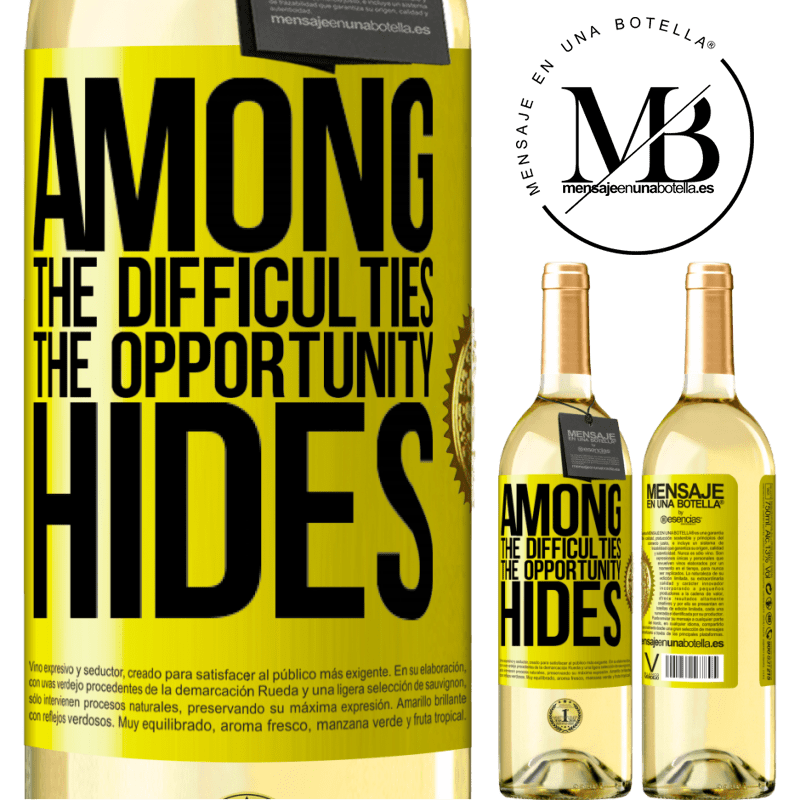 24,95 € Free Shipping | White Wine WHITE Edition Among the difficulties the opportunity hides Yellow Label. Customizable label Young wine Harvest 2020 Verdejo