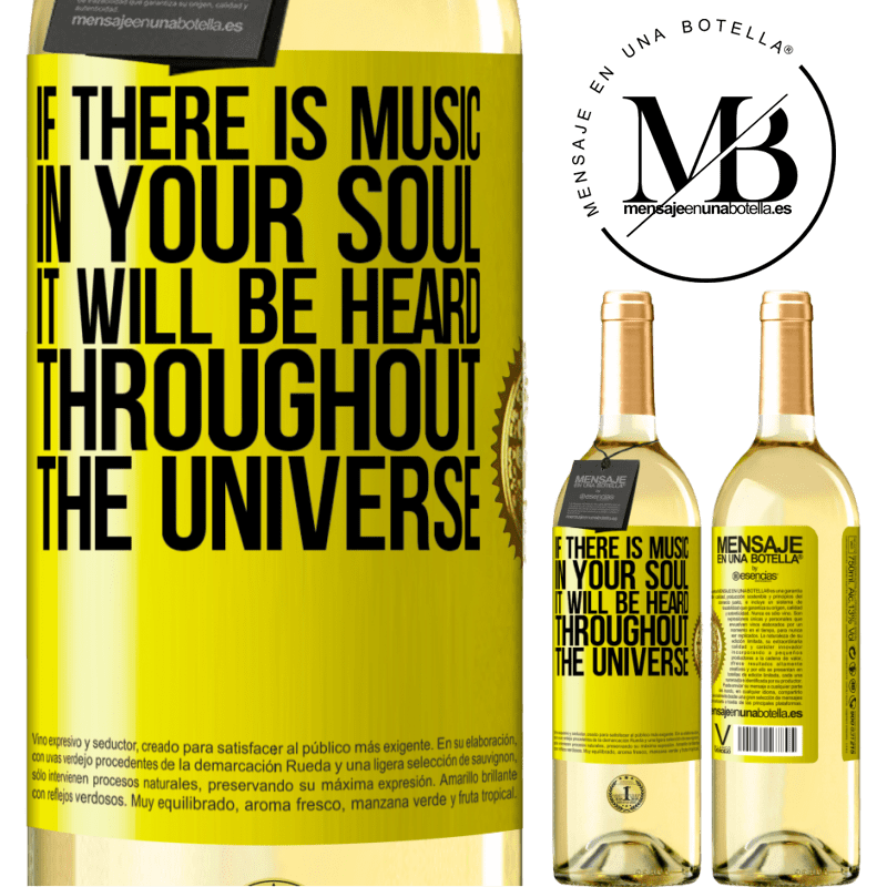 24,95 € Free Shipping | White Wine WHITE Edition If there is music in your soul, it will be heard throughout the universe Yellow Label. Customizable label Young wine Harvest 2020 Verdejo