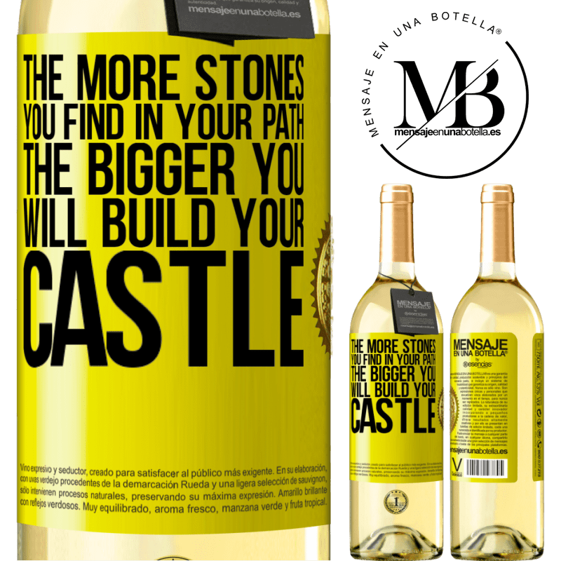 24,95 € Free Shipping | White Wine WHITE Edition The more stones you find in your path, the bigger you will build your castle Yellow Label. Customizable label Young wine Harvest 2020 Verdejo