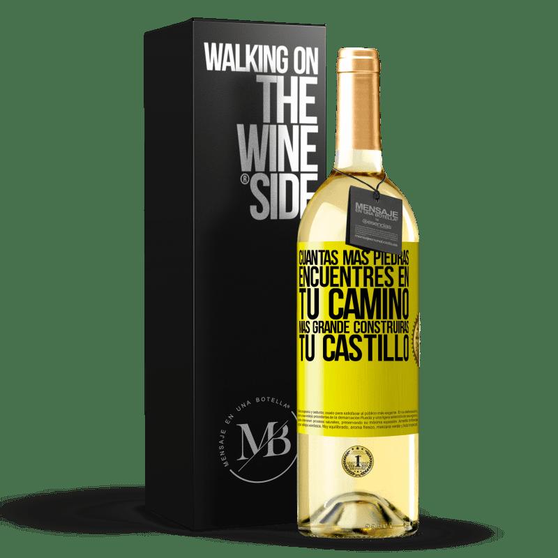 24,95 € Envoi gratuit   Vin blanc Édition WHITE Plus vous trouverez de pierres sur votre chemin, plus vous construirez votre château Étiquette Jaune. Étiquette personnalisable Vin jeune Récolte 2020 Verdejo