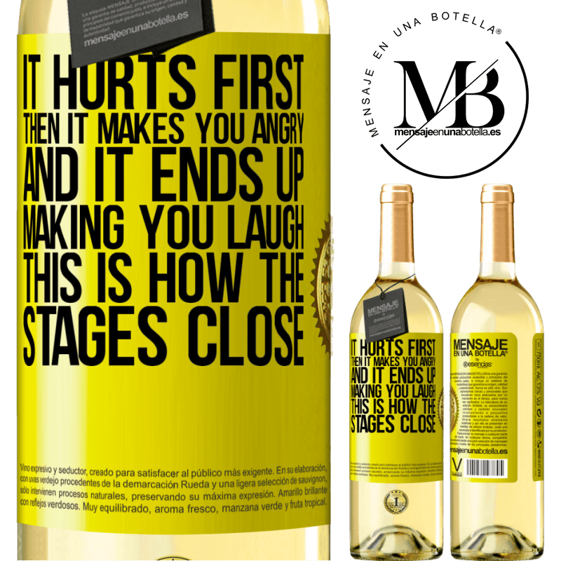 24,95 € Free Shipping   White Wine WHITE Edition It hurts first, then it makes you angry, and it ends up making you laugh. This is how the stages close Yellow Label. Customizable label Young wine Harvest 2020 Verdejo