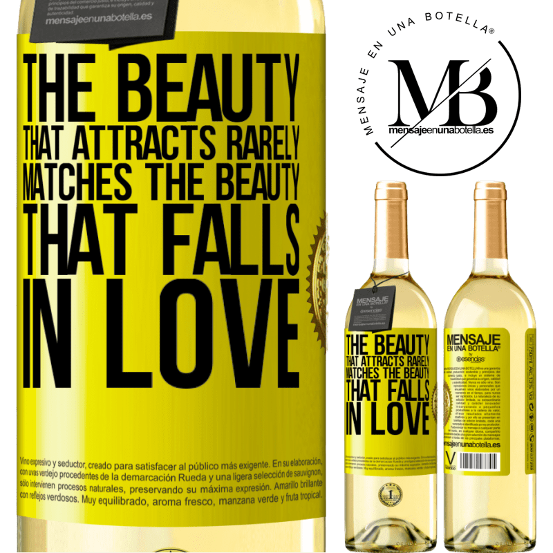 24,95 € Free Shipping   White Wine WHITE Edition The beauty that attracts rarely matches the beauty that falls in love Yellow Label. Customizable label Young wine Harvest 2020 Verdejo