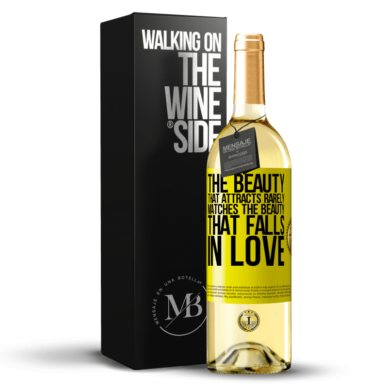 24,95 € Free Shipping | White Wine WHITE Edition The beauty that attracts rarely matches the beauty that falls in love Yellow Label. Customizable label Young wine Harvest 2020 Verdejo