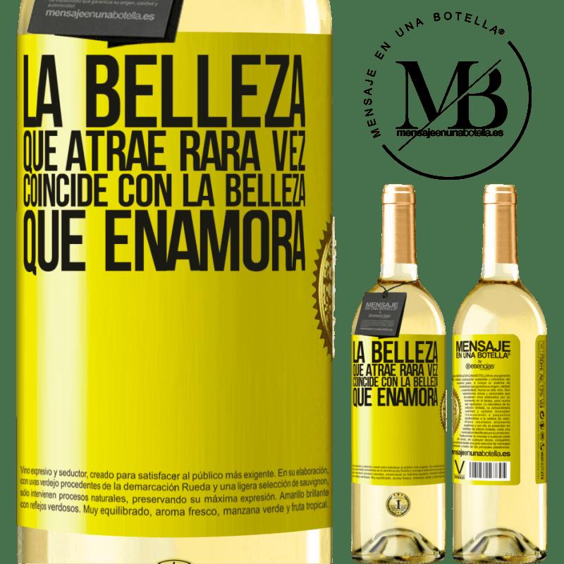 24,95 € Envoi gratuit | Vin blanc Édition WHITE La beauté qui attire correspond rarement à la beauté qui tombe amoureuse Étiquette Jaune. Étiquette personnalisable Vin jeune Récolte 2020 Verdejo