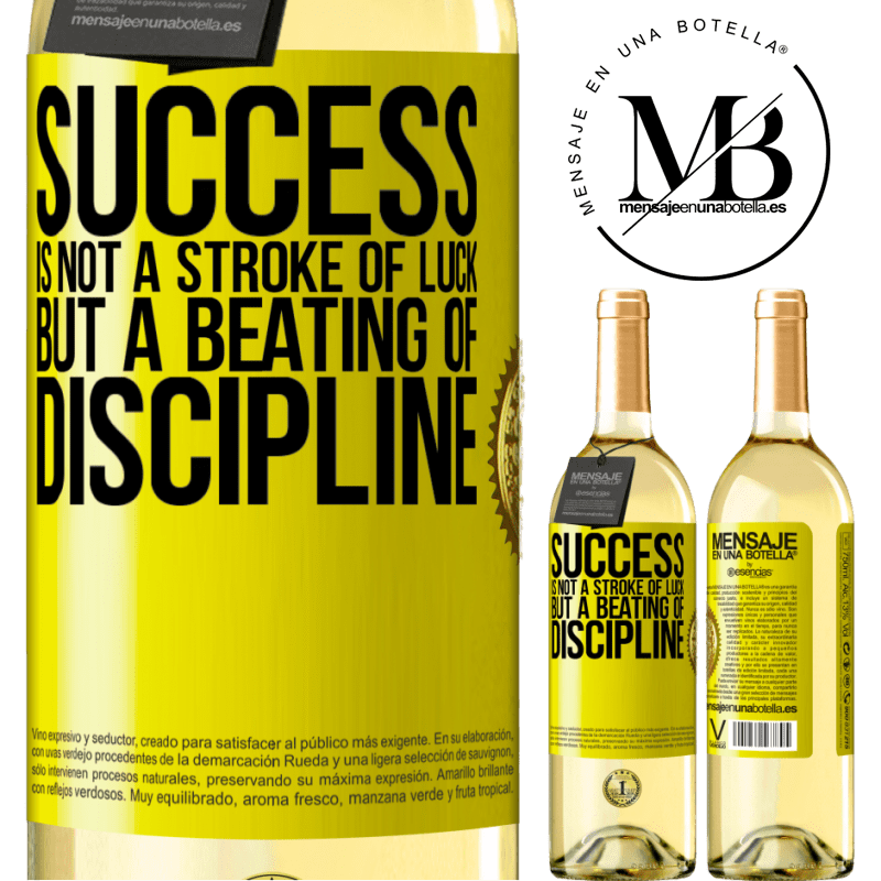 24,95 € Free Shipping | White Wine WHITE Edition Success is not a stroke of luck, but a beating of discipline Yellow Label. Customizable label Young wine Harvest 2020 Verdejo