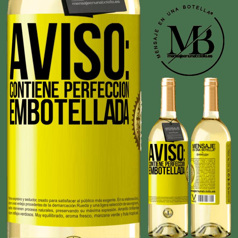24,95 € Envío gratis | Vino Blanco Edición WHITE Aviso: contiene perfección embotellada Etiqueta Amarilla. Etiqueta personalizable Vino joven Cosecha 2020 Verdejo