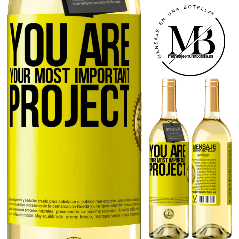 24,95 € Free Shipping | White Wine WHITE Edition You are your most important project Yellow Label. Customizable label Young wine Harvest 2020 Verdejo